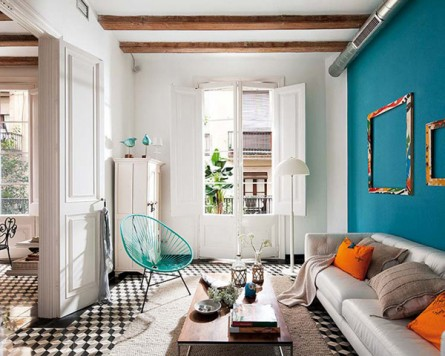 Teal + Orange Accents in a White Apartment
