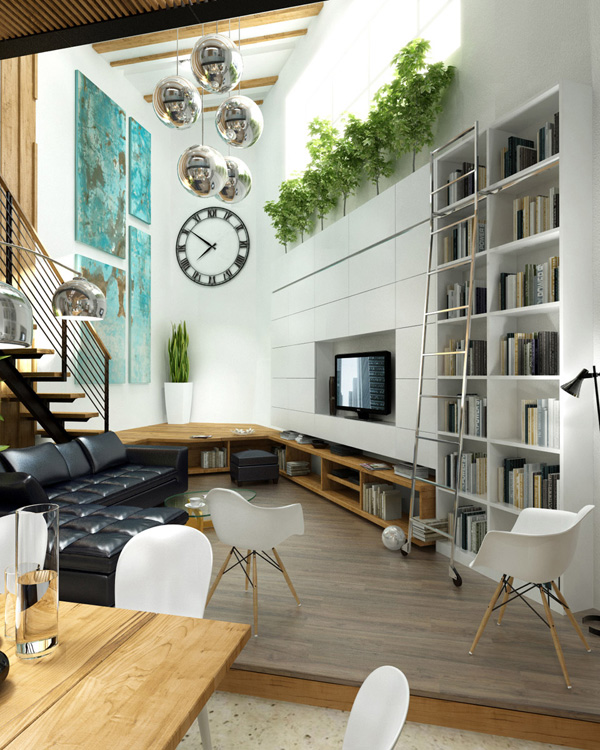 White-living-room-black-L-shaped-sofa-plants.jpg