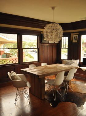 Rustic-Modern Dining and Eames Style Chairs