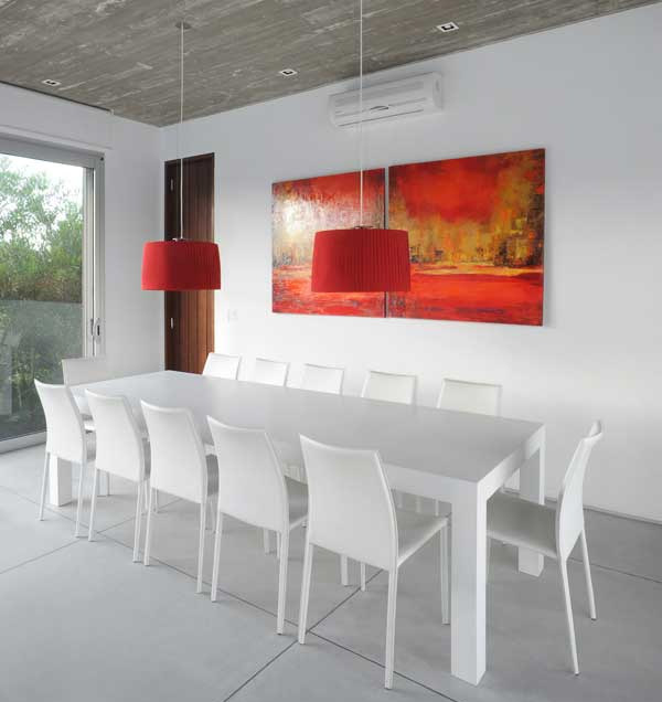 Recreate the look red white dining room inmod style for In mod furniture