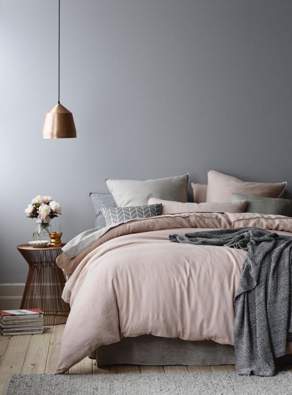 Pink, Grey & Copper Bedroom