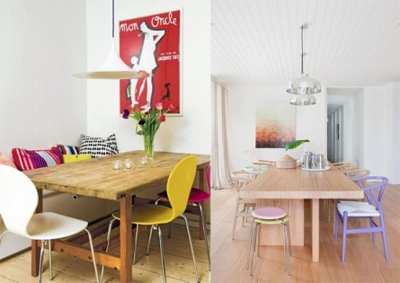 Pastels and Bold Colors in Modern Dining